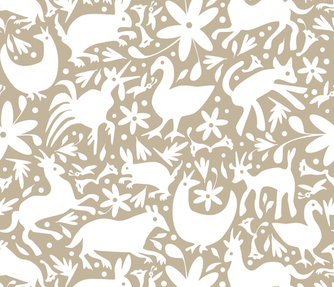 Mexico Springtime: White on Linen (Large Scale) fabric by sammyk on Spoonflower - custom fabric