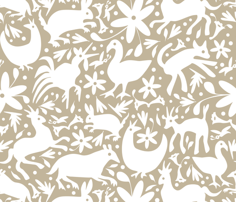Mexico Springtime: White on Linen/ (Large Scale) fabric by sammyk on Spoonflower - custom fabric