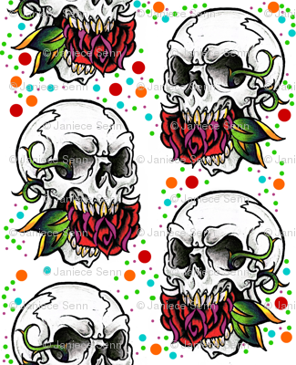 Small skull Halloween fabric