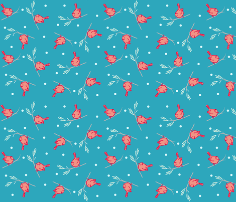 bird dots blue sky fabric by atomic_bloom on Spoonflower - custom fabric