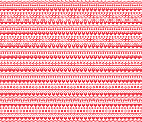 Fair Isle Red & White fabric by lydia_meiying on Spoonflower - custom fabric
