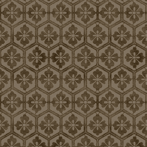Japanese Hexagonal Stencil fabric - antique brown fabric by mina on Spoonflower - custom fabric