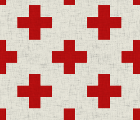 plus_one_linen_red_and_white fabric by holli_zollinger on Spoonflower - custom fabric