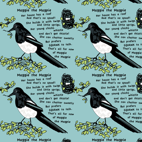 Maggie The Magpie fabric by petals_fair_(peggy_brown) on Spoonflower - custom fabric