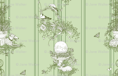 Green Stripe Garden Toile Large ©2011 by Jane Walker
