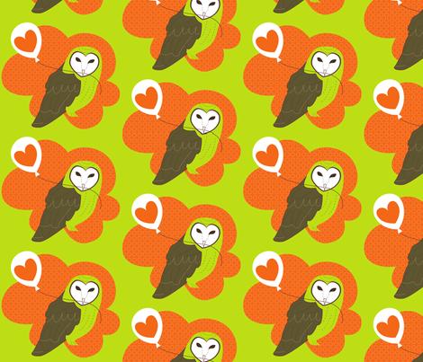 Barn Owl with Love Balloon fabric by malien00 on Spoonflower - custom fabric