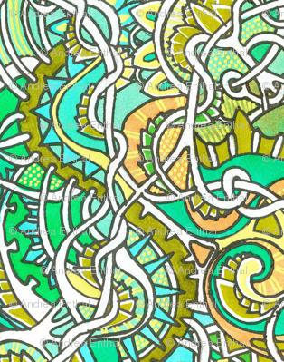 Green and Yellow Teeny Tiny Curligigs