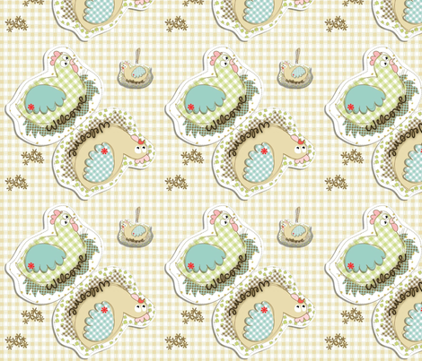 hanging hen fabric by kato_kato on Spoonflower - custom fabric