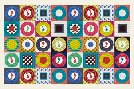 little birds geo tea towel fabric by scrummy on Spoonflower - custom fabric