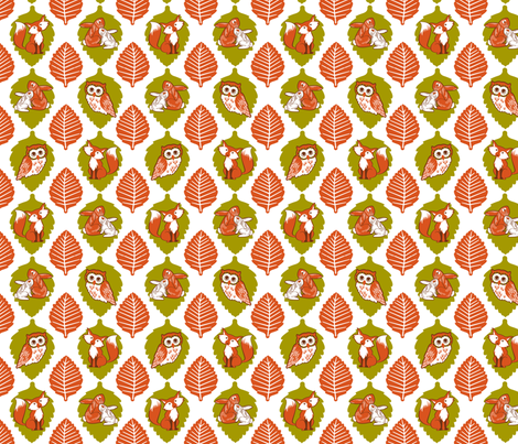 Autumn in the forest friends white fabric by cjldesigns on Spoonflower - custom fabric