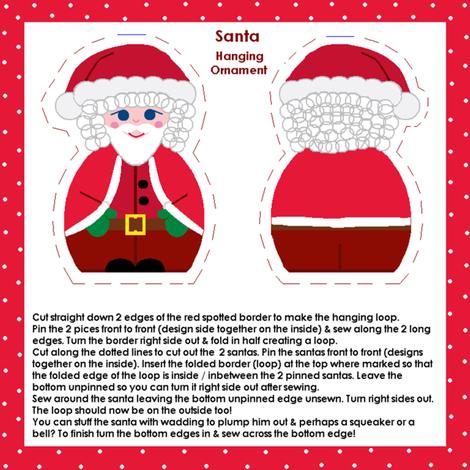 Santa hanging ornament fabric by squeakyangel on Spoonflower - custom fabric