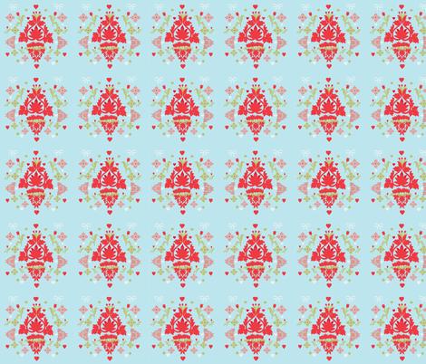 Tulips, Bows and Hearts fabric by karenharveycox on Spoonflower - custom fabric