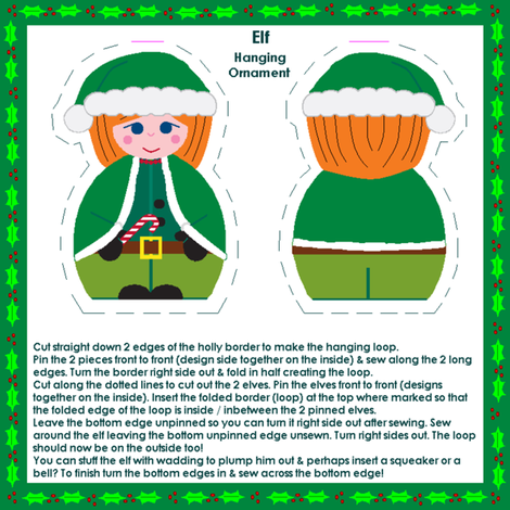 Elf hanging ornament fabric by squeakyangel on Spoonflower - custom fabric
