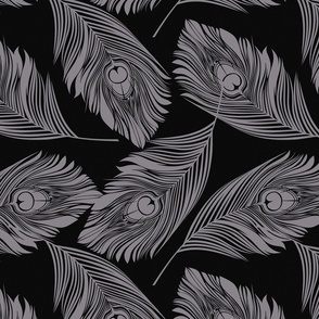 Feathered - silver and black