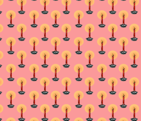 Christmas Candle Pink fabric by schmincy on Spoonflower - custom fabric