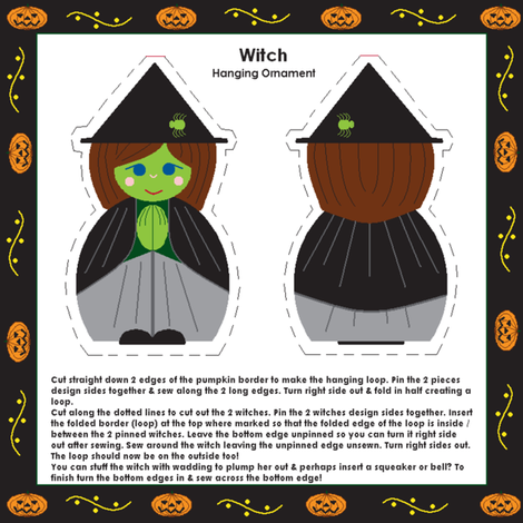 Witch ornament or finger puppet! fabric by squeakyangel on Spoonflower - custom fabric