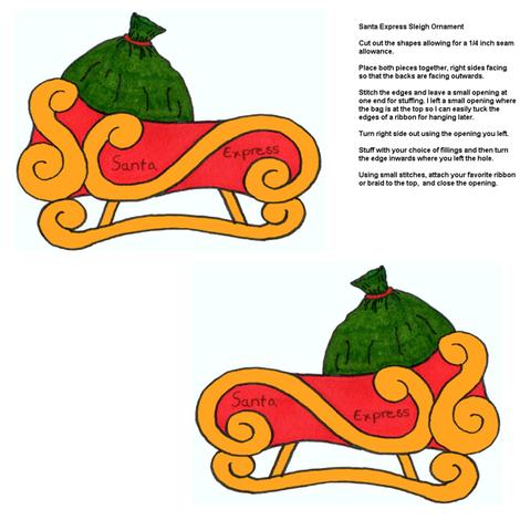 Santa_Sleigh_Ornament fabric by artisticendeavors on Spoonflower - custom fabric