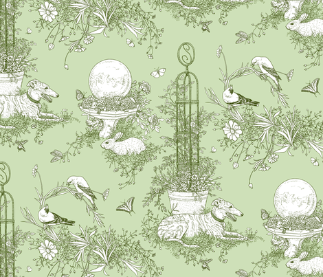 Green Garden Toile Large  ©2011 by Jane Walker fabric by artbyjanewalker on Spoonflower - custom fabric