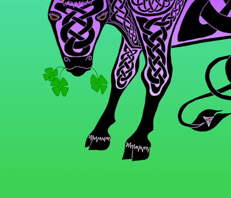 Purple Celtic Cow Banner fabric by ingridthecrafty on Spoonflower - custom fabric