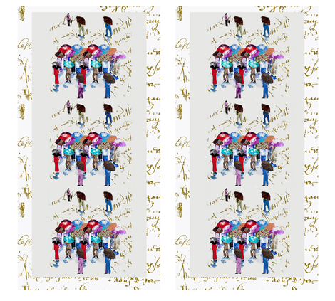 Chinese Grandmas on French Script fabric by karenharveycox on Spoonflower - custom fabric