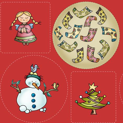 Sweet Xmas - Ornaments and Plushie fabric by catru on Spoonflower - custom fabric
