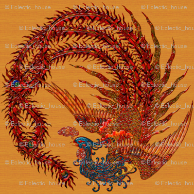 Phoenix on Gold colored background