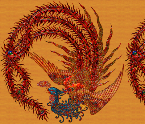 Phoenix on Gold colored background fabric by eclectic_house on Spoonflower - custom fabric