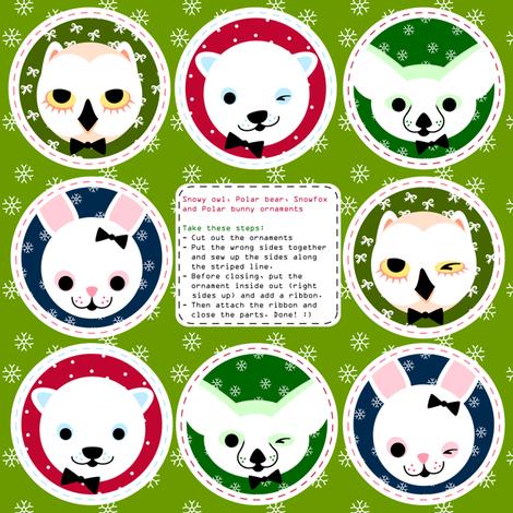 hanging-ornaments snow animals fabric by miss_honeybird on Spoonflower - custom fabric