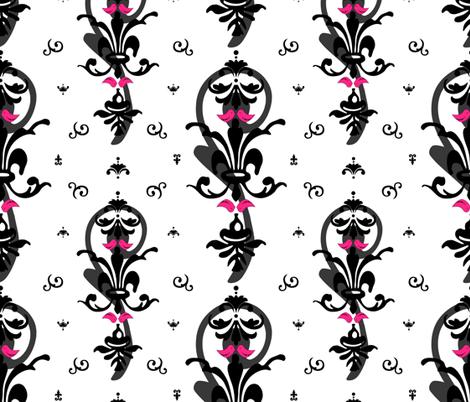 Lovebirds in Modern Damask fabric by artsycanvasgirl on Spoonflower - custom fabric