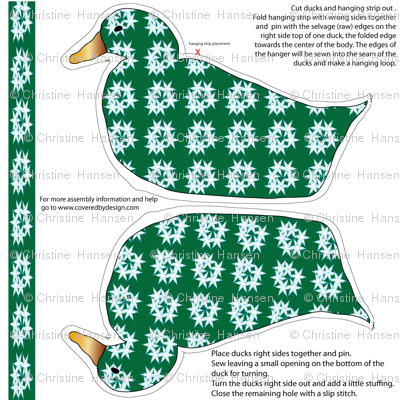 Duck Ornament Green with Blue Stars