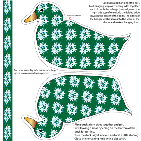 Duck Ornament Green with Blue Stars fabric by coveredbydesign on Spoonflower - custom fabric