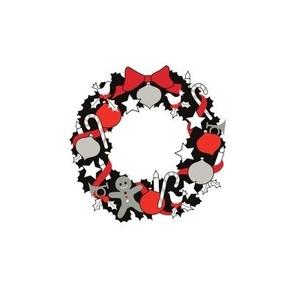 Christmas Wreath Black, white & red