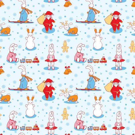 Bunny Christmas fabric by innaogando on Spoonflower - custom fabric