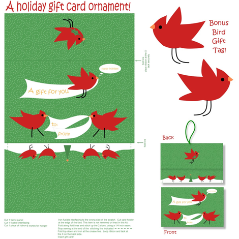 Cardinal Holiday Gift Card Ornament fabric by vo_aka_virginiao on Spoonflower - custom fabric