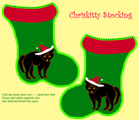 ChristmasCatStocking2 fabric by grannynan on Spoonflower - custom fabric