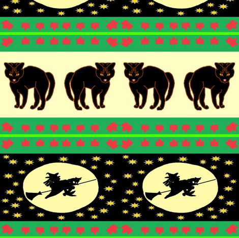 BlackCatGE-Ribbon2-Redone2 fabric by grannynan on Spoonflower - custom fabric