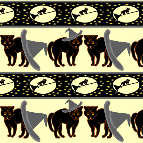 BlackCatGE-withesNightOff-RibbonX300 fabric by grannynan on Spoonflower - custom fabric