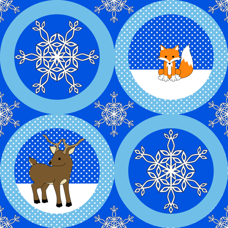 Fox and Deer Snow ornaments fabric by shala on Spoonflower - custom fabric