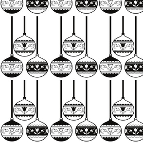 Christmas baubles black & white round