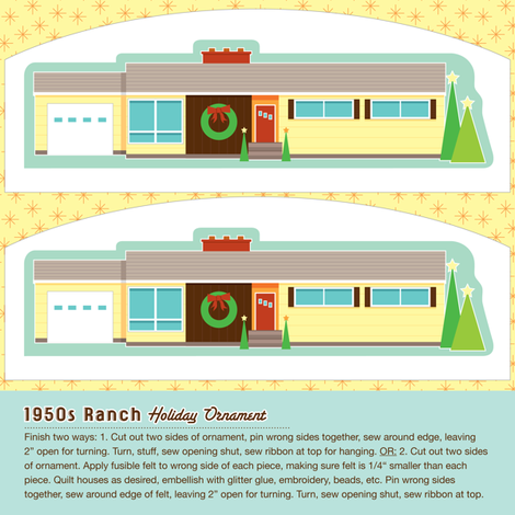 Memories of Home ornament (1950s ranch) fabric by jennartdesigns on Spoonflower - custom fabric