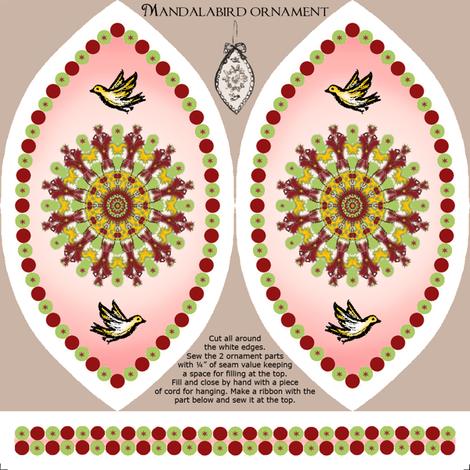 Mandalabird hanging ornament fabric by lucybaribeau on Spoonflower - custom fabric