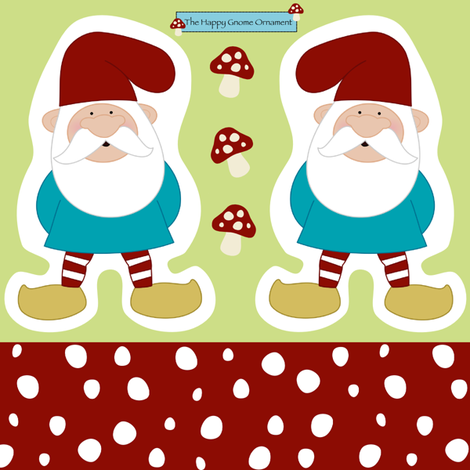 The Happy Gnome Ornament  fabric by mayabella on Spoonflower - custom fabric