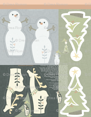 Hanging Ornaments: Reindeer, Snowman, and Tree