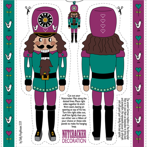 nutcracker_ornament_pink fabric by peppermintpatty on Spoonflower - custom fabric
