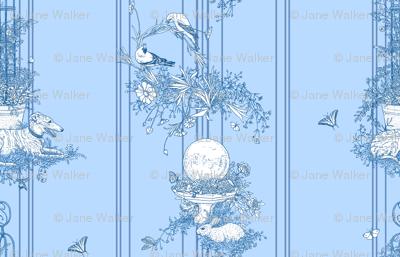 My Garden Toile Stripe Small Blue ©2011 by Jane Walker