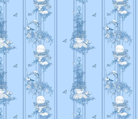 My Garden Toile Stripe Small Blue ©2011 by Jane Walker fabric by artbyjanewalker on Spoonflower - custom fabric