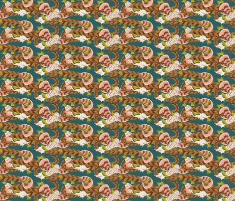 Pheasant Flight in Teal fabric by miart on Spoonflower - custom fabric