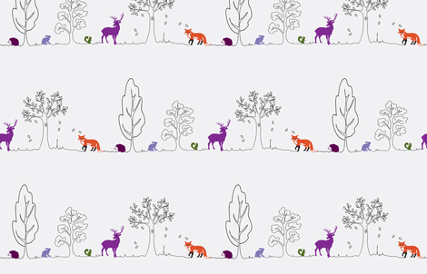 Woodland doodle colour fabric by coggon_(roz_robinson) on Spoonflower - custom fabric