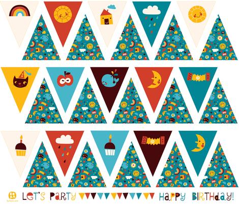Happy Birthday! bunting fabric by bora on Spoonflower - custom fabric