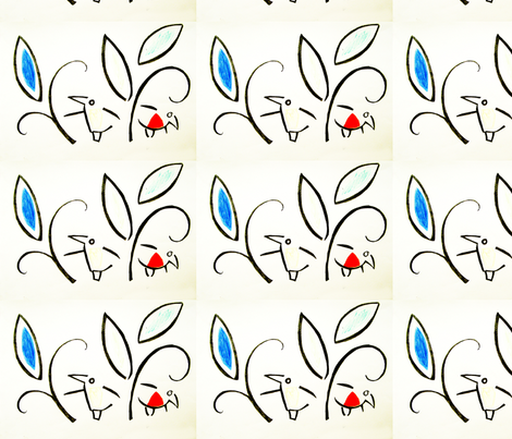 PICT0228_Little Birds Busy in the Leaves fabric by josephinefletcher on Spoonflower - custom fabric
